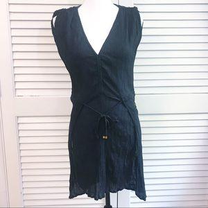 Vix black swim coverup EUC tie waist split front